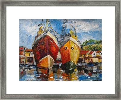Ships In Repair Framed Print by Min Wang