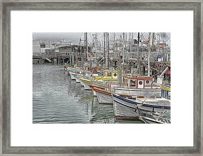 Ships In The Harbor Framed Print