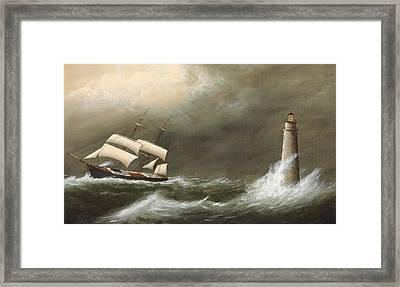 Ships Passing Minot's Light Framed Print by Clement Drew