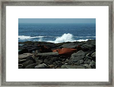 Ships Remain On Rocks Framed Print by Georgia Sheron