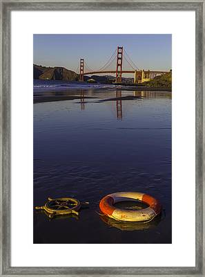 Ships Wheel And Life Ring Framed Print by Garry Gay