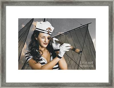 Shipshape Maritime Sailor Woman With Telescope Framed Print by Jorgo Photography - Wall Art Gallery
