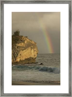 Shipwreck Beach Rainbow Framed Print
