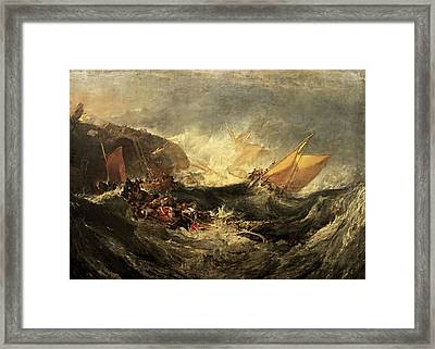 Framed Print featuring the painting Shipwreck Of The Minotaur by J M William Turner
