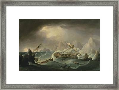 Shipwreck Off A Rocky Coast Framed Print by War Is Hell Store
