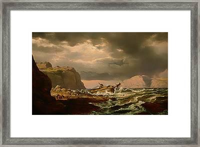 Shipwreck On Norwegian Coast Framed Print by Mountain Dreams