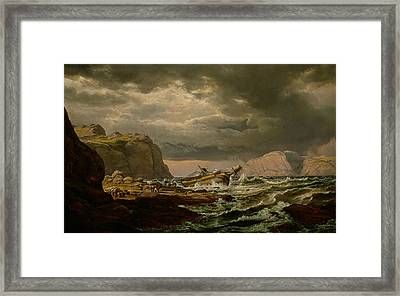 Shipwreck On The Coast Of Norway Framed Print by Johan Christian Dahl