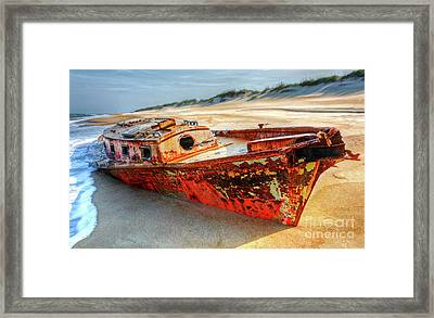 Shipwrecked Boat On Outer Banks Front Side View Framed Print by Dan Carmichael