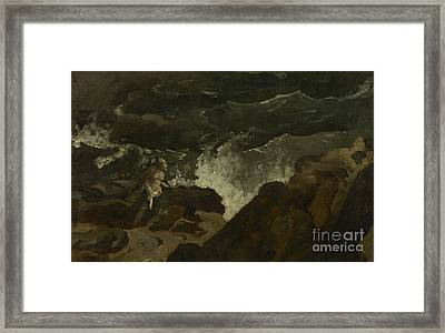 Shipwrecked On A Beach Framed Print