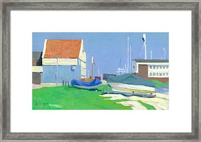 Shipyard Volendam In Springtime Framed Print by Ben Rikken