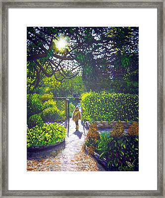 Shirley At Chalice Well Framed Print