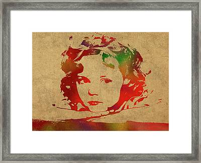 Shirley Temple Watercolor Portrait Framed Print by Design Turnpike