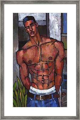Shirtless Backyard Framed Print