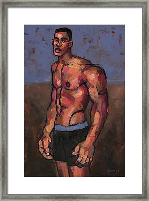 Shirtless Fighter Framed Print by Douglas Simonson