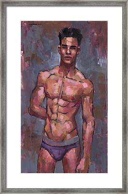 Shirtless On Grey Background Framed Print