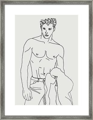 Shirtless Young Male Framed Print by Sheri Buchheit