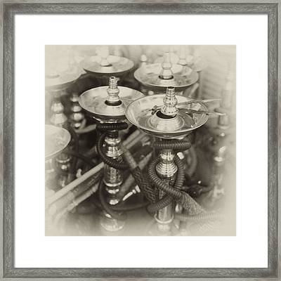 Shisha Pipes In Qatar Retro Framed Print