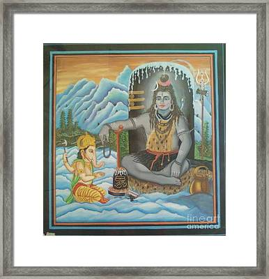 Shiv Ji Nd Ganesh Ji Framed Print by Ravi Kumar