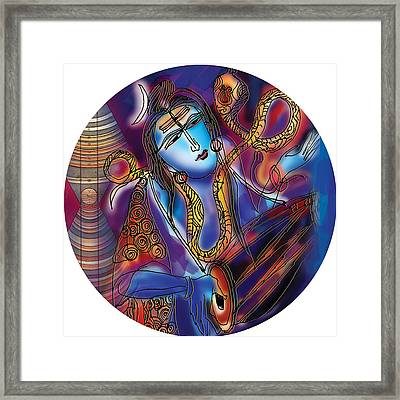 Shiva Playing The Drums Framed Print