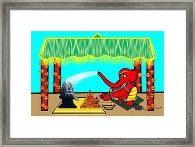 Ganapati Worshiping Shiva And Shakti Framed Print