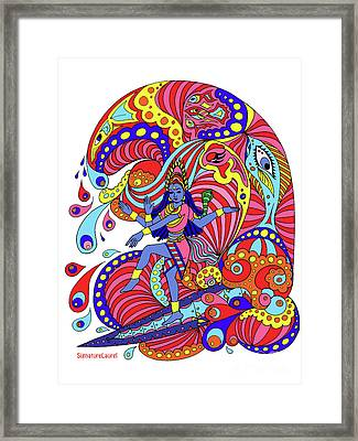Shiva Surfing Framed Print by Signature Laurel
