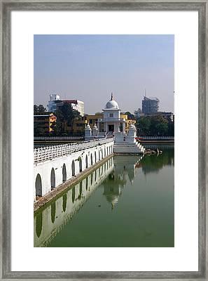 Framed Print featuring the photograph Shiva Temple In Lake Rani Pokharil, Kathmandu, Nepal by Aidan Moran
