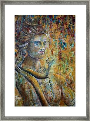 Framed Print featuring the painting Shiva2-upclose-portrait by Nik Helbig