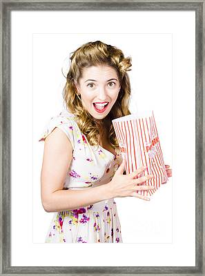 Shock Horror Pinup Girl Watching Scary Movie Framed Print by Jorgo Photography - Wall Art Gallery
