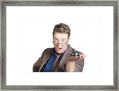 Shocked Businessman With Service Bell. Bad Service Framed Print