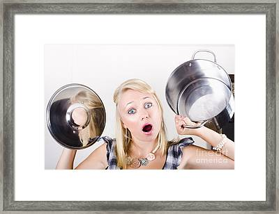 Shocked Caucasian Woman Holding Empty Cooking Pot Framed Print by Jorgo Photography - Wall Art Gallery