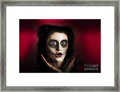 Shocked Day Of The Dead Voodoo Doll On Red Framed Print