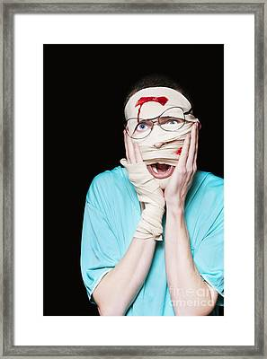 Shocked Patient Nursing A Broken And Bloody Head Framed Print
