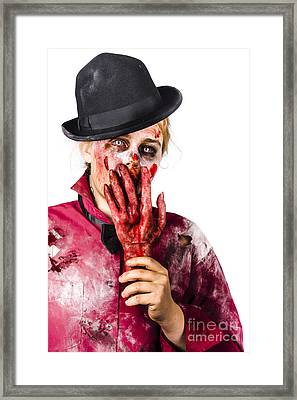 Shocked Zombie Holding Severed Hand. Dead Silence Framed Print