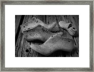 Shoe Forms Black And White Framed Print by Garry Gay