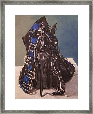 Shoe In Black And Blue Framed Print