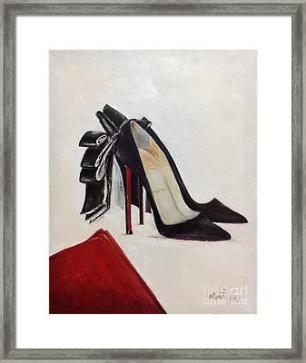 Shoe Lover Black Satin Bow Framed Print by Nina R Aide