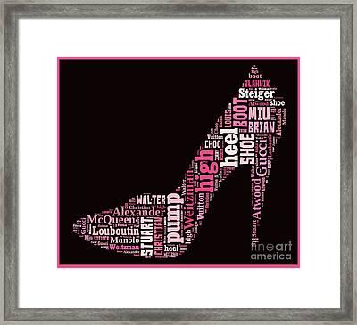 Shoe Lover Word Cloud Framed Print by Edward Fielding