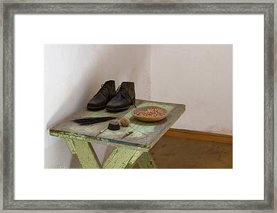 Shoe Repair Table At Eastern State Penitentiary  Framed Print