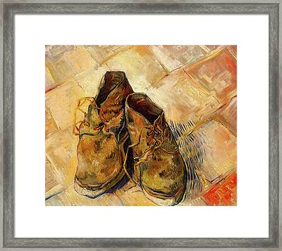 Framed Print featuring the painting Shoes                                   by Vincent van Gogh