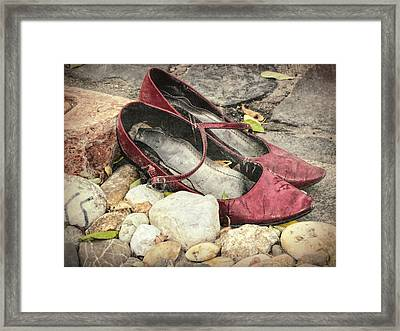 Shoes At The Makeshift Memorial Framed Print by Joan Carroll