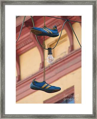 Shoes Hanging Framed Print by Jeff White