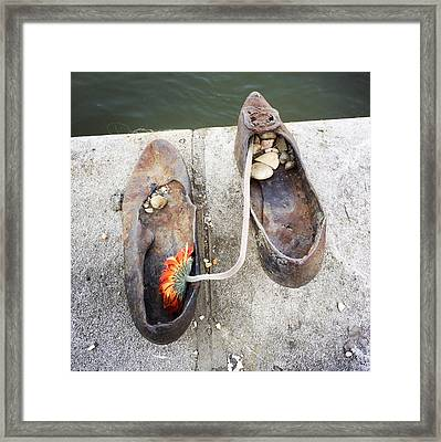 Shoes On The Danube Bank - Memorial In Budapest Framed Print