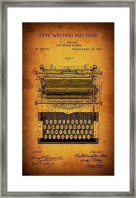 Shole's Type Writing Machine Patent 1896 Framed Print