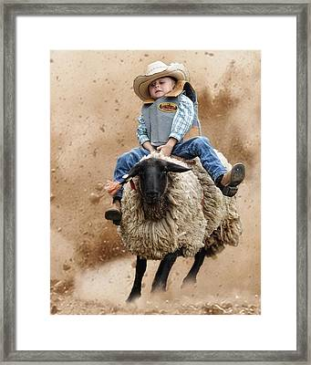 Shoot Low Sheriff They're Riding Sheep Framed Print by Ron  McGinnis
