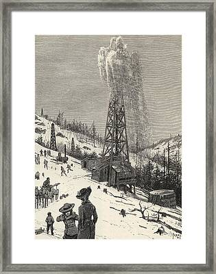 Shooting An Oil Well From The Book The Framed Print by Vintage Design Pics