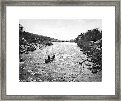 Shooting The Rapids In Maine Framed Print by Underwood Archives