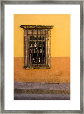 Shop Window San Miguel De Allende Framed Print by Carol Leigh
