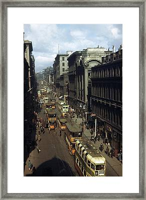 Shoppers And Trams Clog Renfield Street Framed Print by B. Anthony Stewart