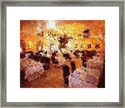 Shoppers In The Gallery Framed Print by Don Phillips