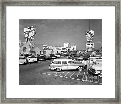 Shopping Center Parking Lot, C.1950s Framed Print by H. Armstrong Roberts/ClassicStock